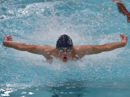 Chambersburg's Avery Barley competes in the 100-butterfly.