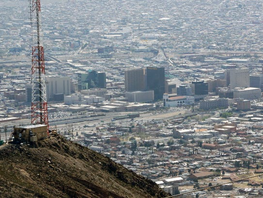 The view of Downtown El Paso from the Wyler Aerial