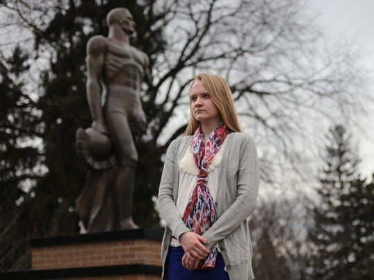 """Emily Kollaritsch, who graduated this year from Michigan State University and is a sexual assault survivor, said, """"I felt really betrayed by my university. I'm kind of disgusted to think this is what a Spartan is supposed to be apparently to them, and they would allow assailants and serial rapists to stay on campus. It's just awful."""""""