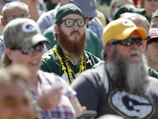 A Packers fan looks on during the annual Green Bay