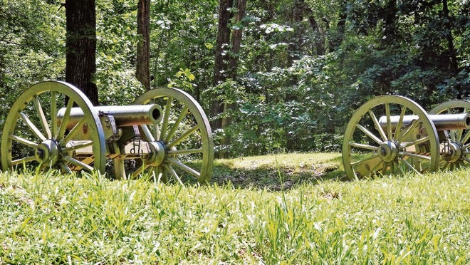 Civil War-era cannons at Kennesaw Mountain National Battlefield.