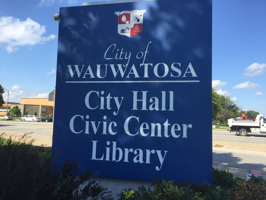 Wauwatosa City Hall, Civic Center, Public Library sign.