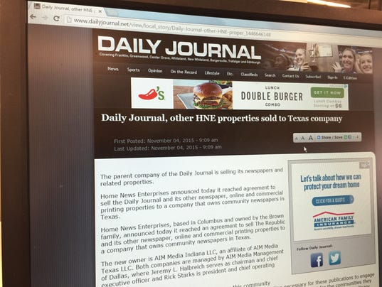 Texas chain buys Indiana newspapers in Johnson County ...