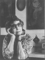 Val Knight poses in her studio in 1987.