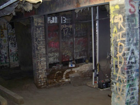 The basement of Delta Tau Delta's fraternity house.
