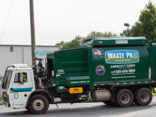 A Leon County Waste Pro truck. There will be no trash pickup on Monday due to the Labor Day holiday.