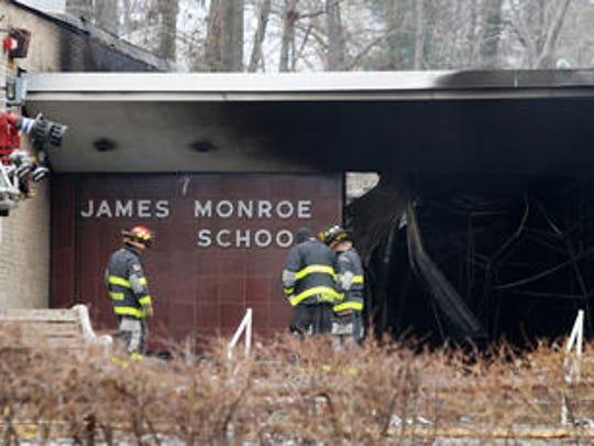 James Monroe School in Edison following a March 22, 2014 six-alarm fire.