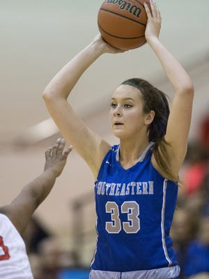 FILE — Freshman Sydney Parrish leads Hamilton Southeastern in scoring, and was at it again Friday night against Noblesville.