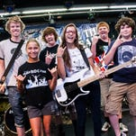 Musicians at Camp Roc Star from left are Matt Edwards, Morgan McMahon, Dylan Banker, Isabella Barbagallo, Jack Erway and David Clapp.