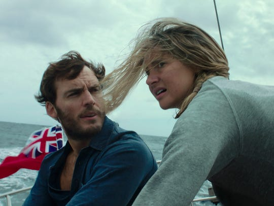 "Sam Claflin and Shailene Woodley play two sailors caught in a killer hurricane in ""Adrift."""