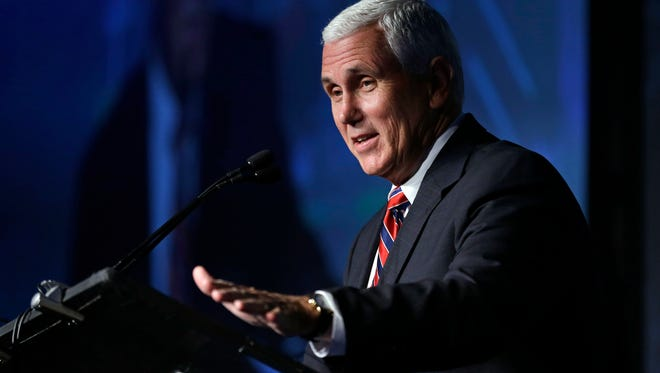 Republican vice presidential candidate, Indiana Gov. Mike Pence speaks at the American Legislative Exchange Council annual meeting in Indianapolis, Friday, July 29, 2016. (AP Photo/Michael Conroy)