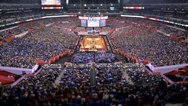 Apr 4, 2015; Indianapolis, IN, USA; (Editor's Note: Tilt-shift lens used.) General view of the stadium during the first half of the 2015 NCAA Men's Division I Championship semi-final game between the Duke Blue Devils and the Michigan State Spartans at Lucas Oil Stadium. Mandatory Credit: Jamie Rhodes-USA TODAY Sports