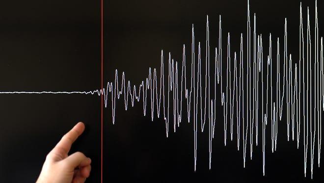 A big quake is seen represented on a seismograph.