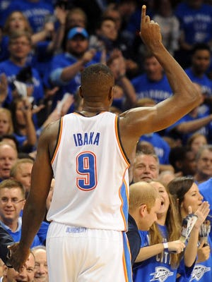Thunder forward Serge Ibaka salutes the crowd after leaving Game 3 vs. the Spurs.