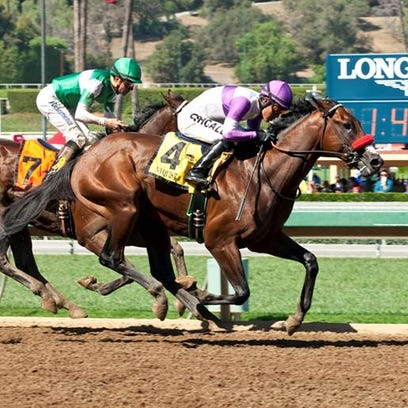 Nyquist, outside, topped Swipe in the FrontRunner Stakes