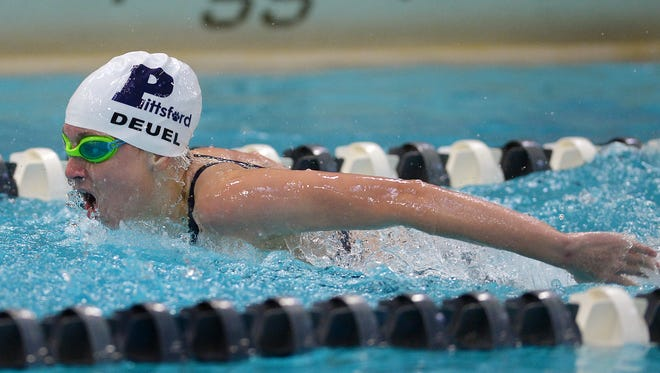 Pittsford's Megan Deuel swims the 100 yard butterfly during a meet at Pittsford Mendon High School on Tuesday, Sept. 27, 2016.