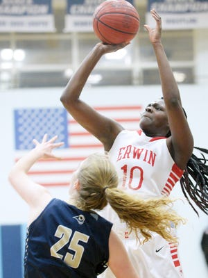 Treasure Bailey and the Erwin girls have advanced to Thursday's second round of the NCHSAA 3-A girls basketball playoffs.