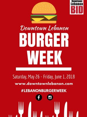 Fourteen establishments are lined up to take part in Downtown Lebanon Burger Week, beginning May 26.
