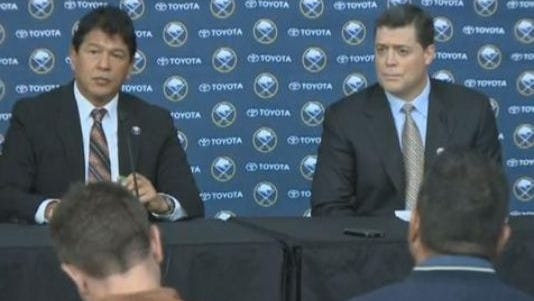 Ted Nolan, left, and Pat LaFontaine earlier in November.