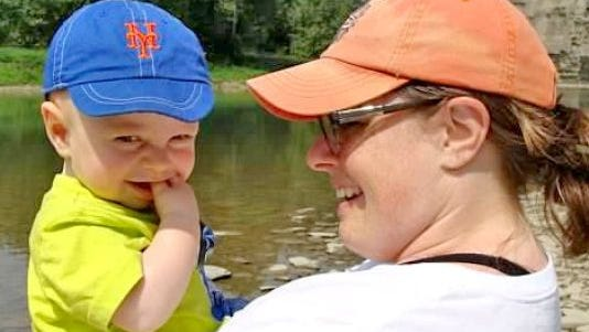 Abby Cantwell is shown with her son, Max. Cantwell has been an organizer for Climb Out of Darkness events in the Rochester area.