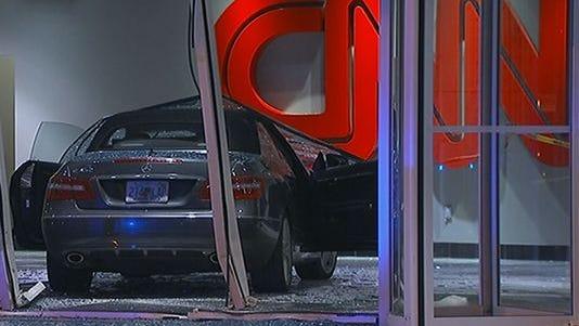 A car crashes into CNN Center lobby.