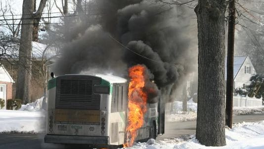 A Transport of Rockland bus caught fire in February in Pearl River. No one was injured.