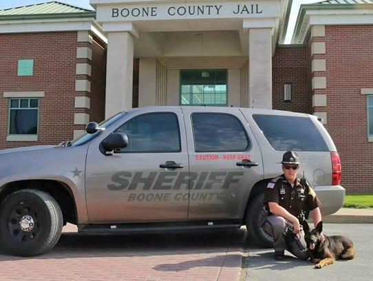 Boone County Deputy Jacob Pickett with his K-9 partner, Brik. He is a German Shepherd, Belgian Malinois cross and was born in Czechoslovakia.