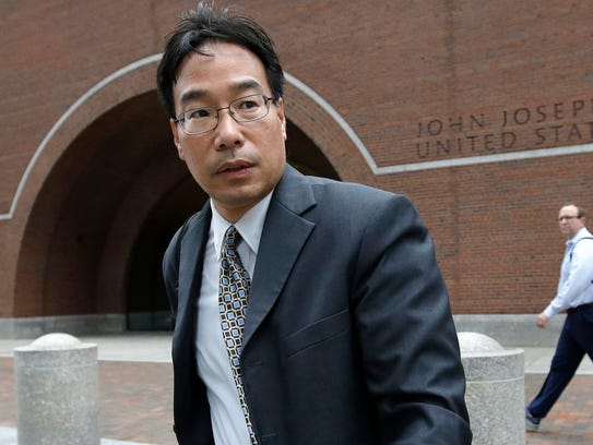 In this Sept. 19, 2017, file photo, Glenn Chin, supervisory pharmacist at the now-closed New England Compounding Center, leaves federal court in Boston.