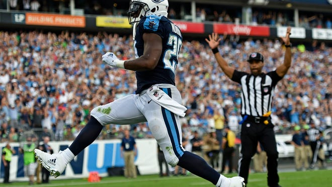 Titans running back DeMarco Murray (29) scores on a 75-yard run in the second half Sunday, Sept. 24, 2017, at Nissan Stadium.