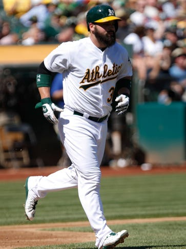 Derek Norris earns a walk against the Angels at O.co