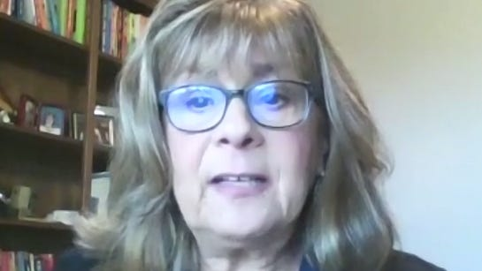 Michigan Municipal League Lead Executive Recruiter Kathie Grinzinger speaks to the Ionia County Council during a special meeting Thursday, Oct. 22, via Zoom.