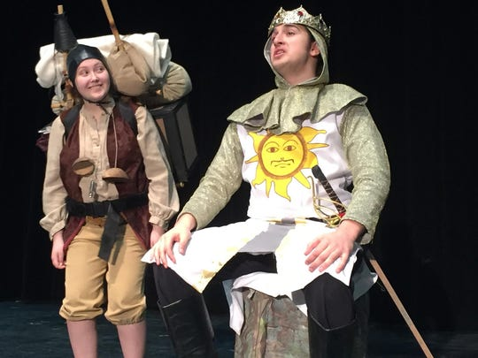 "King Arthur (Akash Kushwaha) and his trusty, and often neglected servant, Patsy (Madeline Nickerson), are on a quest to find the Holy Grail in the Mount Mansfield Union High School musical production of ""Spamalot."""