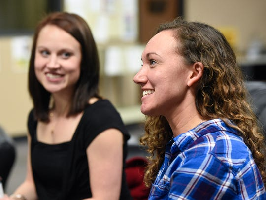 Leah Rubnik, left, and Nicole Couch talk about their