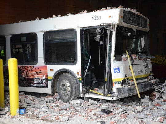 A DDOT bus that went through a building after being