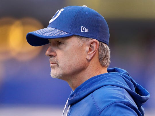 Indianapolis Colts head coach Chuck Pagano looks on