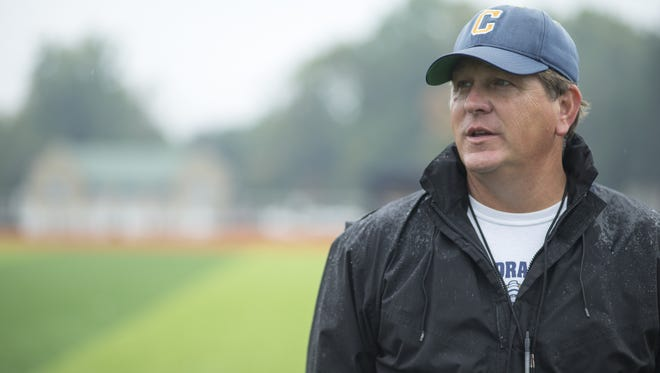Rick Streiff, Head Coach of Cathedral High School's football team, monitors his players at practice, Indianapolis, Tuesday, September 29, 2015.