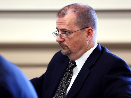 Retired Parsippany Police Chief Michael Peckerman looks on during a civil trial against the township as James Carifi, a retired Parsippany police captain is suing the township alleging under the state's whistleblower law, that he reported wrongdoing to superiors and found himself the target of internal affairs investigations in retaliation. September 21, 2017, Morristown, NJ