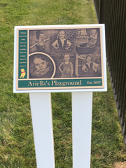 The plaque at Ariella's Playground at Saint Bartholomew's School in East Brunswick.