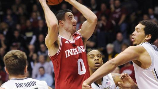 Will Sheehey of IU goes up for a shot against Purdue's A. J. Hammons last season.
