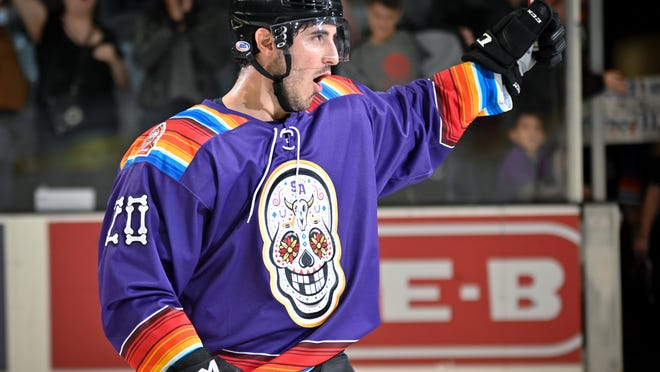 Mike Vecchione of Saugus is shown as a San Antonio Rampage before an AHL game against the Texas Stars earlier this year. He returned home to Saugus a short time later after the season was cut short in March, because of Coronavirus concerns. But now, the Saugus native is ready to begin the next chapter of his pro career with the Colorado Avalanche organization, hopefully starting up again on New Year's Day.
