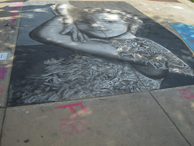 """""""Woman in Black and White"""" won first place at Chalkfest"""