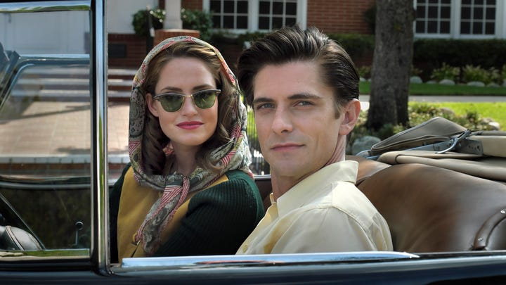 Louis Zamperini (Samuel Hunt) and his wife Cynthia (Merritt Patterson) try to live the good life in post war Florida, but Zamperini is haunted by his war experiences in 'Unbroken: Path to Redemption.'
