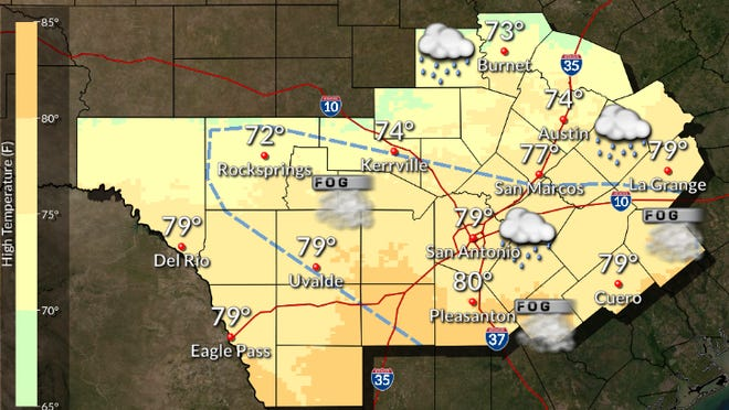 The forecast for Austin and San Antonio on Sunday, courtesy of the National Weather Service.