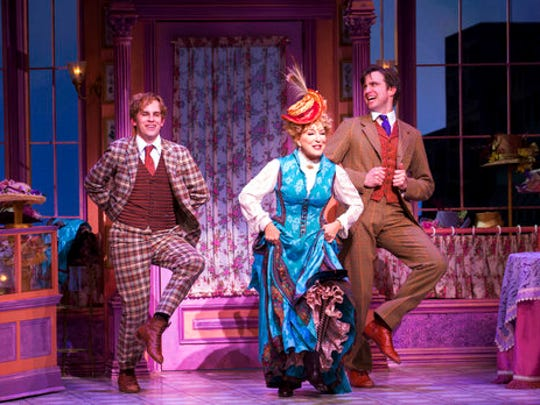 "This image released by O&M/DKC shows Taylor Trensch, fromleft, Bette Midler, and Gavin Creel during a performance of ""Hello, Dolly!"" in New York. Tony Award nominations will be announced on Tuesday, May 2, 2017."