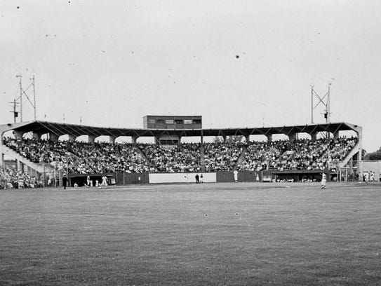 A view of the grandstand from the outfield at the old