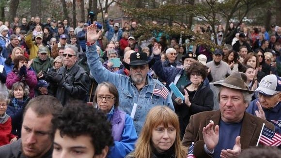Terry McSheehy was among the Vietnam veterans who raised their hands when asked at last year's Veterans Day ceremony, held Nov. 11, 2019 at Veterans Memorial Park. This year's ceremony will be held virtually due to the coronavirus, and will include the dedication of a stone to honor veterans exposed to the dofoliant, Agent Orange.