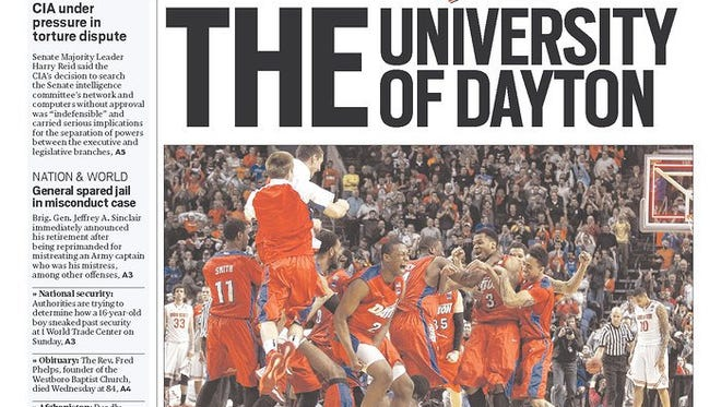 The March 21st front page of the Dayton Daily News.