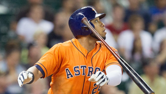The Astros' Jon Singleton, flipping his bat after hitting a home run against the Rays on June 13, says he means no disrespect.