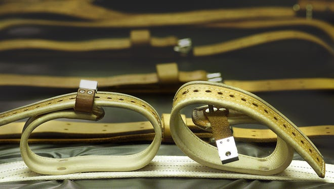 Wide leather straps hold down a death-row inmate while receiving a lethal injection in the death chamber of unit 17 at the Mississippi State Penitentiary at Parchman. Paul Woodward, 62, of Monticello, is schedule to be executed 6 p.m. today. Woodward was sentenced to death in 1987 and again in 1993 for the rape and shooting death of Rhonda Crane, 24, of Escatawpa. Gerald James Holland, 72, of Adams County, sentenced to death in 1987 for raping, beating, stabbing and suffocation of 15-year-old Krystal King, also of Adams County, is schedule to be executed May 20.