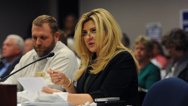 Assemblywoman Michele Fiore introduces AB 408 at the Nevada State Legislature Building in Carson City on March 31, 2015.
